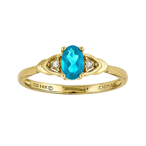 Genuine Swiss Blue Topaz Diamond-Accent 14K Yellow Gold Ring