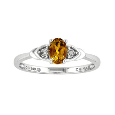 jcpenney.com | Genuine Yellow Citrine Diamond-Accent 14K White Gold Ring