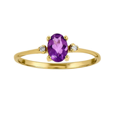 Fine Jewelry Genuine Amethyst & Diamond Accent 10K Yellow Gold Ring 1NbVhGWEM