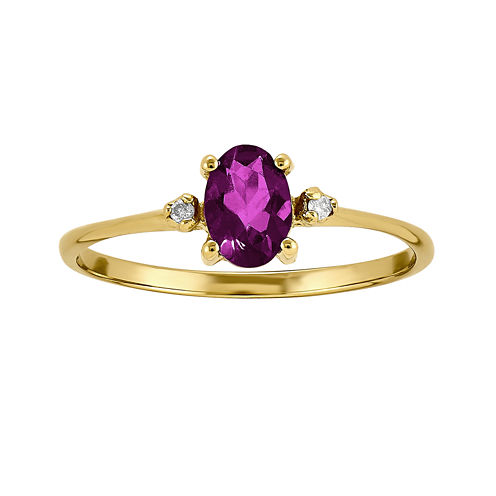 Genuine Red Rhodolite Diamond-Accent 14K Yellow Gold Ring