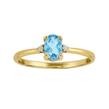 jcpenney.com | Genuine Swiss Blue Topaz Diamond-Accent 14K Yellow Gold Birthstone Ring