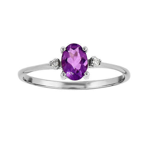 Genuine Purple Amethyst Diamond-Accent 14K White Gold Ring