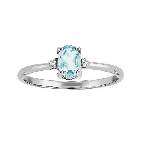 Genuine Aquamarine Diamond-Accent 14K White Gold Ring