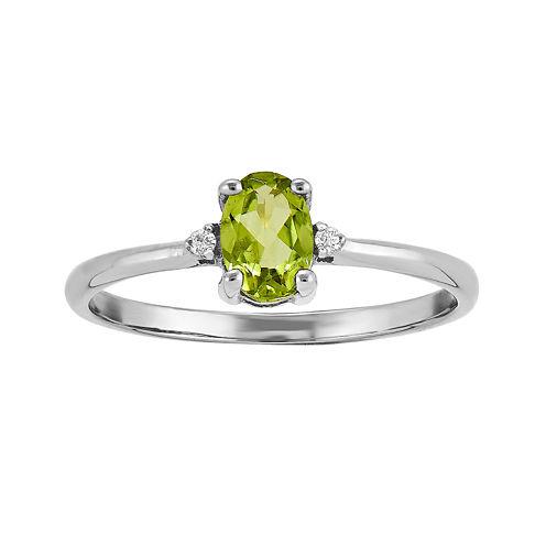 Genuine Green Peridot Diamond-Accent 14K White Gold Ring