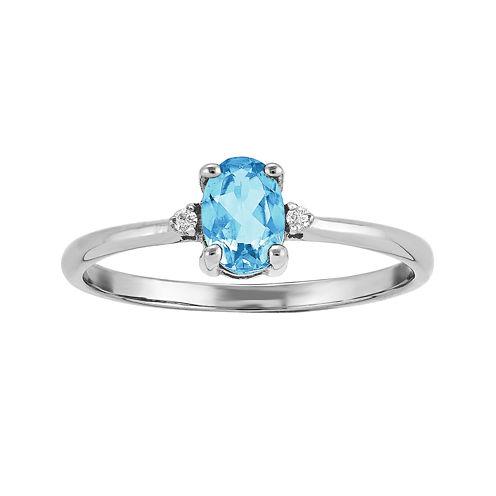 Genuine Swiss Blue Topaz Diamond-Accent 14K White Gold Ring