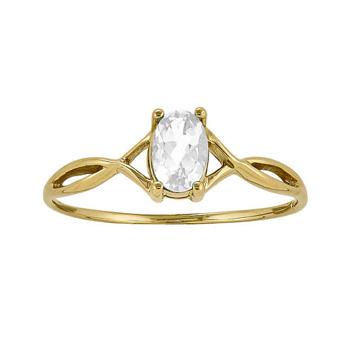 Genuine White Topaz 14K Yellow Gold Ring