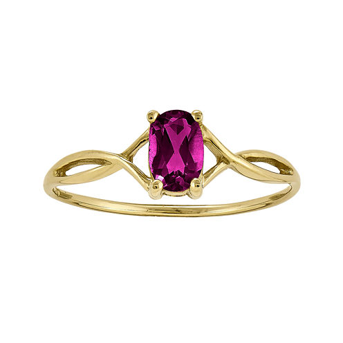 Genuine Red Rhodolite 14K Yellow Gold Ring