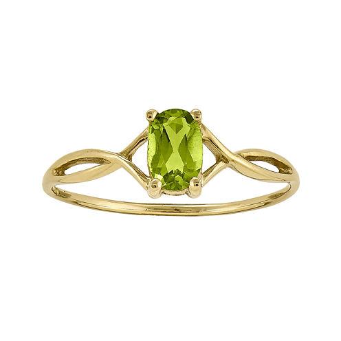 Genuine Green Peridot 14K Yellow Gold Ring