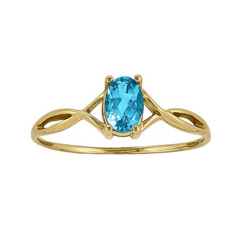 Genuine Swiss Blue Topaz 14K Yellow Gold Ring