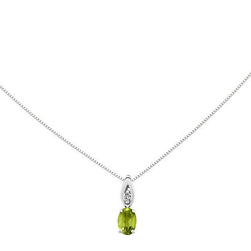 Genuine Green Peridot Diamond-Accent 14K White Gold Pendant Necklace