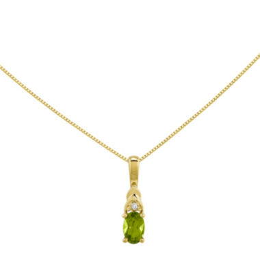 jcpenney.com | Genuine Green Peridot Diamond-Accent 14K Yellow Gold Pendant Necklace