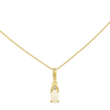 jcpenney.com | Lab-Created Opal Diamond-Accent 14K Yellow Gold Pendant Necklace