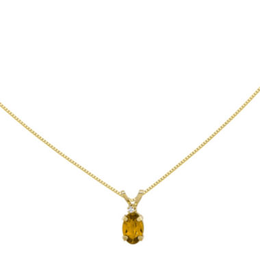 jcpenney.com | Genuine Yellow Citrine Diamond-Accent 14K Yellow Gold Birthstone Pendant Necklace