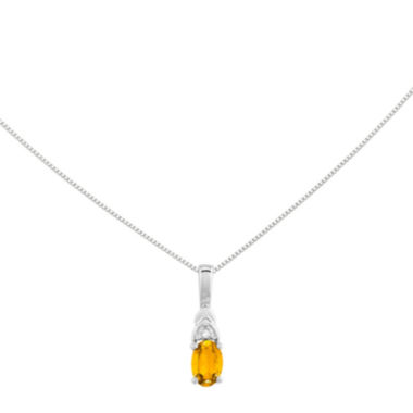 jcpenney.com | Genuine Yellow Citrine Diamond-Accent 14K White Gold Pendant Necklace