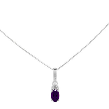 jcpenney.com | Genuine Purple Amethyst Diamond-Accent 14K White Gold Pendant Necklace