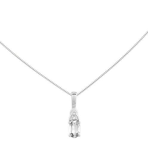 Genuine White Topaz Diamond-Accent 14K White Gold Accent Pendant Necklace