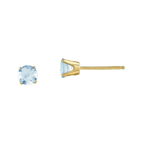 4mm Round Genuine Aquamarine 14K Yellow Gold Stud Earrings