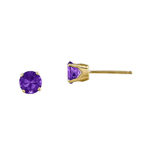 5mm Genuine Purple Amethyst 14K Yellow Gold Stud Earrings