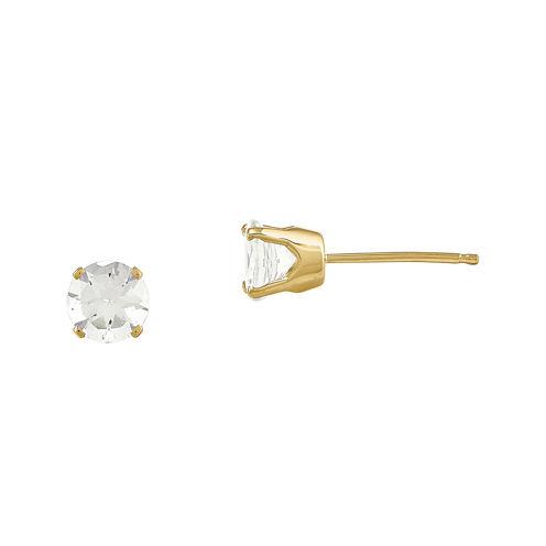 5mm Genuine White Topaz 14K Yellow Gold White Stud Earrings