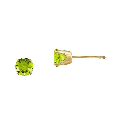 5mm Genuine Green Peridot 14K Yellow Gold Stud Earrings