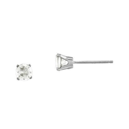 4mm Round Genuine White Topaz 14K White Gold Stud Earrings