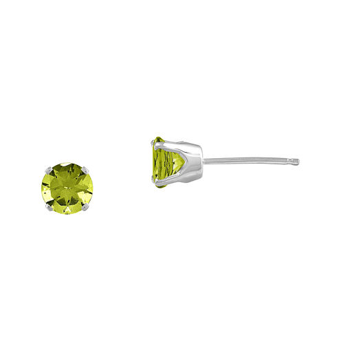 Round Genuine Peridot 14K White Gold Stud Earrings