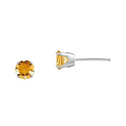 Round Genuine Citrine 14K White Gold Stud Earrings