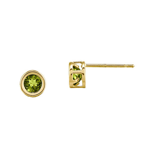 Genuine Green Peridot 14K Yellow Gold Stud Earrings