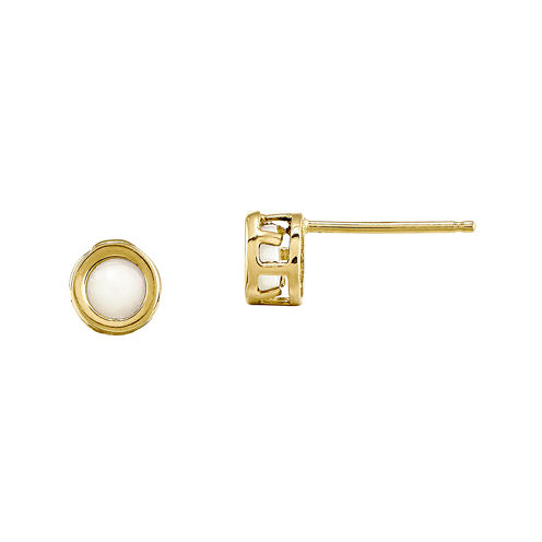 Lab-Created Opal 14K Yellow Gold Stud Earrings