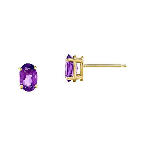 Genuine Amethyst 14K Yellow Gold Stud Earrings