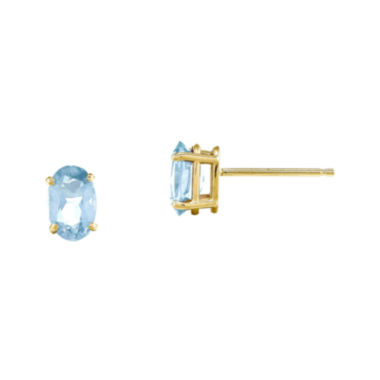 jcpenney.com | Genuine Aquamarine 14K Yellow Gold Stud Earrings