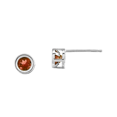 Genuine Red Garnet 14K White Gold Stud Earrings