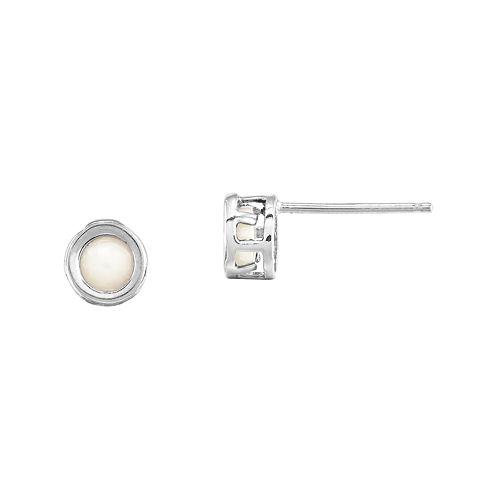 Lab-Created Opal 14K White Gold Stud Earrings