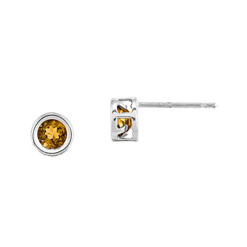Genuine Yellow Citrine 14K White Stud Earrings