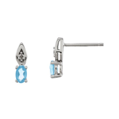 jcpenney.com | Genuine Aquamarine and Diamond-Accent 14K White Gold Earrings