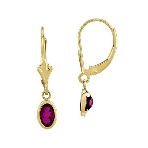 Genuine Red Rhodolite 14K Yellow Gold Drop Earrings