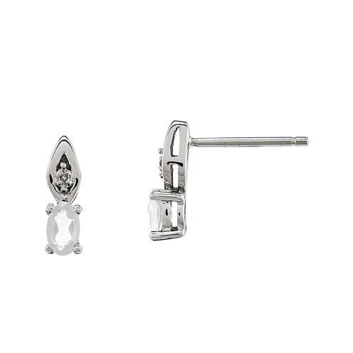 Genuine White Topaz Diamond-Accent 14K White Gold Earrings