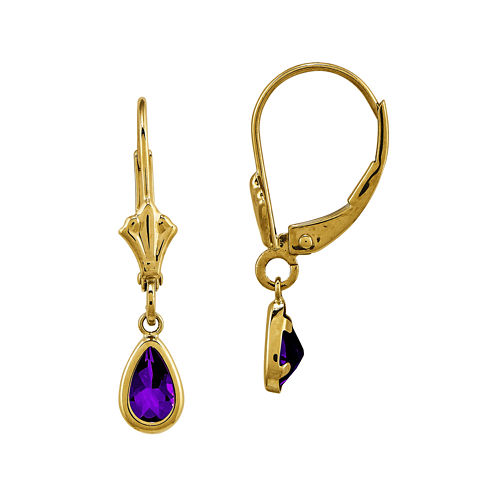 Genuine Purple Amethyst 14K Yellow Gold Pear Drop Earrings
