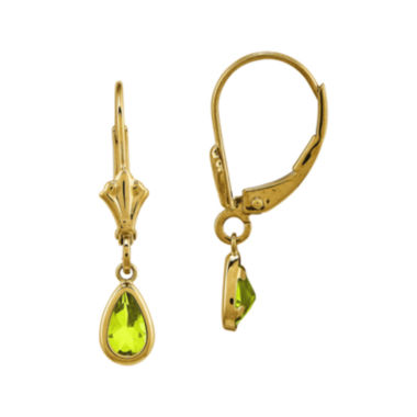 jcpenney.com | Genuine Green Peridot 14K Yellow Gold Pear Drop Earrings
