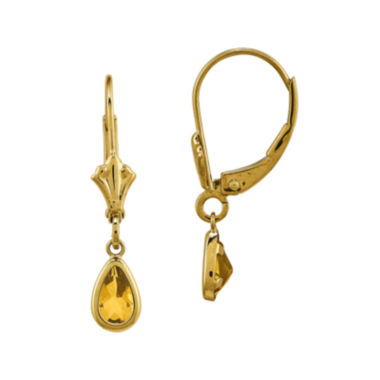 jcpenney.com | Genuine Yellow Citrine 14K Yellow Gold Pear Drop Earrings