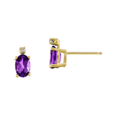 jcpenney.com | Genuine Purple Amethyst Diamond-Accent 14K Yellow Gold Earrings