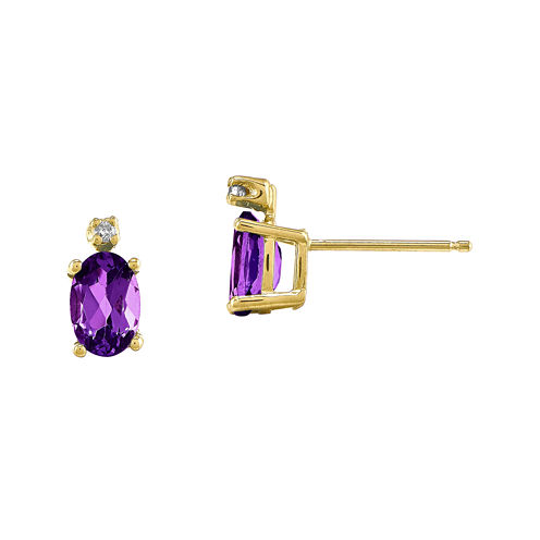 Genuine Purple Amethyst Diamond-Accent 14K Yellow Gold Earrings