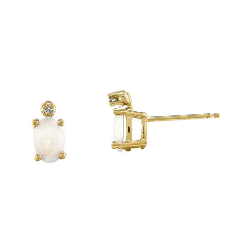 Lab-Created Opal Diamond-Accent 14K Yellow Gold Earrings