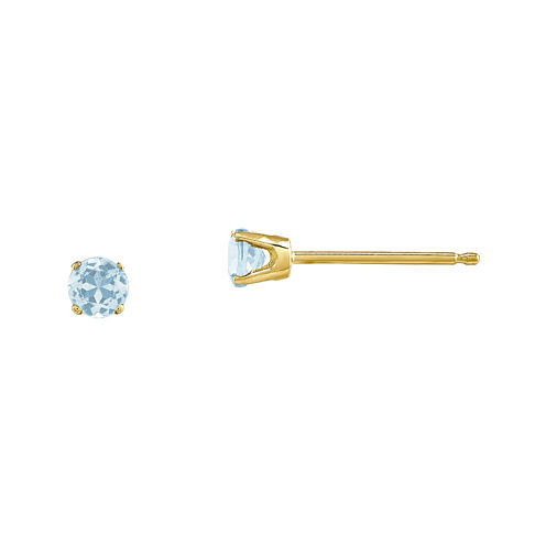 3mm Round Genuine Aquamarine 14K Yellow Gold Stud Earrings