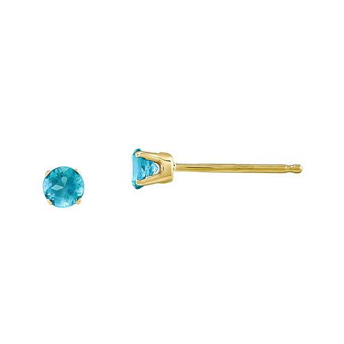 3mm Round Genuine Swiss Blue Topaz 14K Yellow Gold Stud Earrings