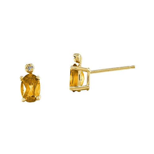 Genuine Yellow Citrine Diamond-Accent 14K Yellow Gold Earrings