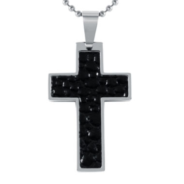 jcpenney.com | Mens Leather Stainless Steel Cross Pendant