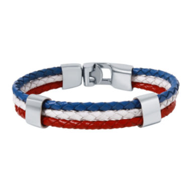 jcpenney.com | Mens Tri-Color Leather Stainless Steel Bracelet