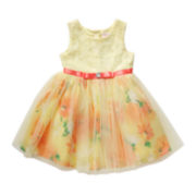 Youngland® Sleeveless Yellow Floral Dress - Toddler Girls 2t-4t