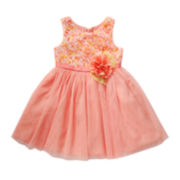 Youngland® Sleevlees Soutache Floral Dress - Preschool Girls 4-6x